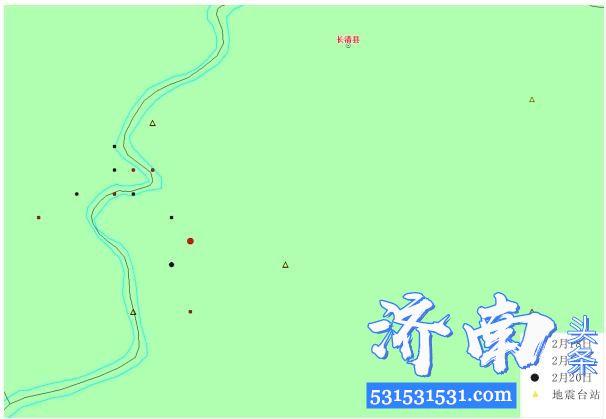 2020年02月20日11时17分在山东济南长清区(北纬36.49度,东经116.61度)发生M1.8级地震(余震)