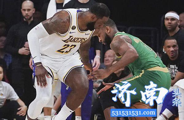 NBA常规赛湖人队114-112险胜凯尔特人队喜获5连胜 绿军2连胜终结