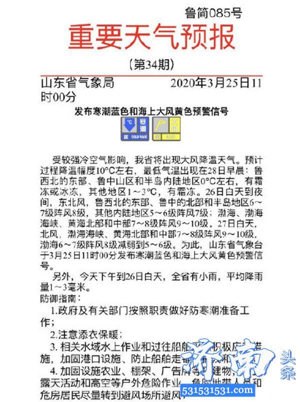 山东省气象台发布寒潮蓝色和海上大风黄色预警信号降温幅度10℃左右